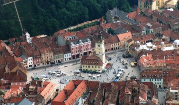 Aerial view of Brasov -aerial Dracula tours from Brasov