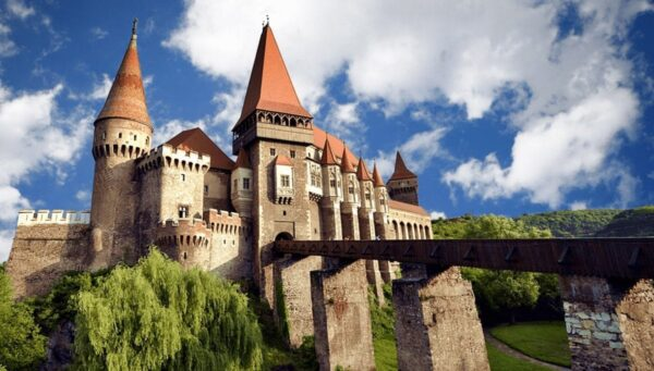 Corvinesti Castle seen in these Halloween in Transylvania tours from Budapest